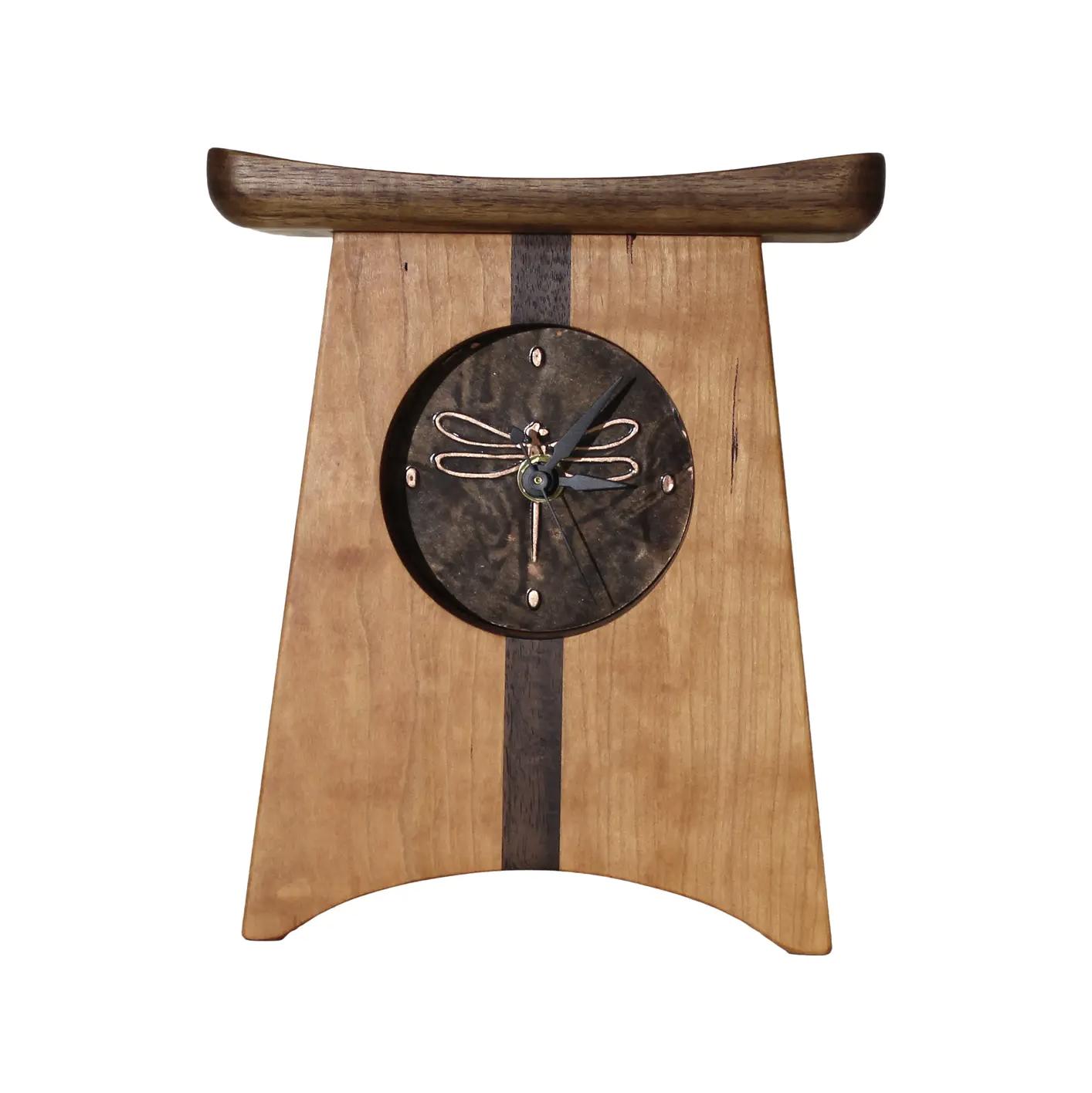 Sabbath Day Wood Dragonfly Clock
