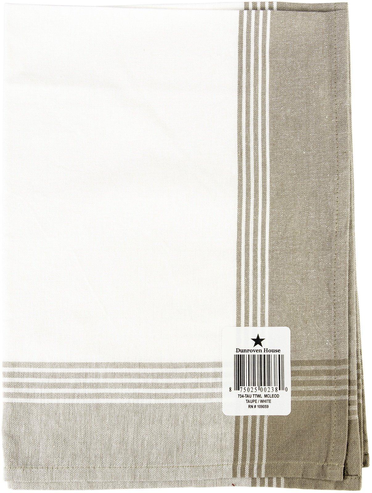 Tea Towel White with Taupe Stripe