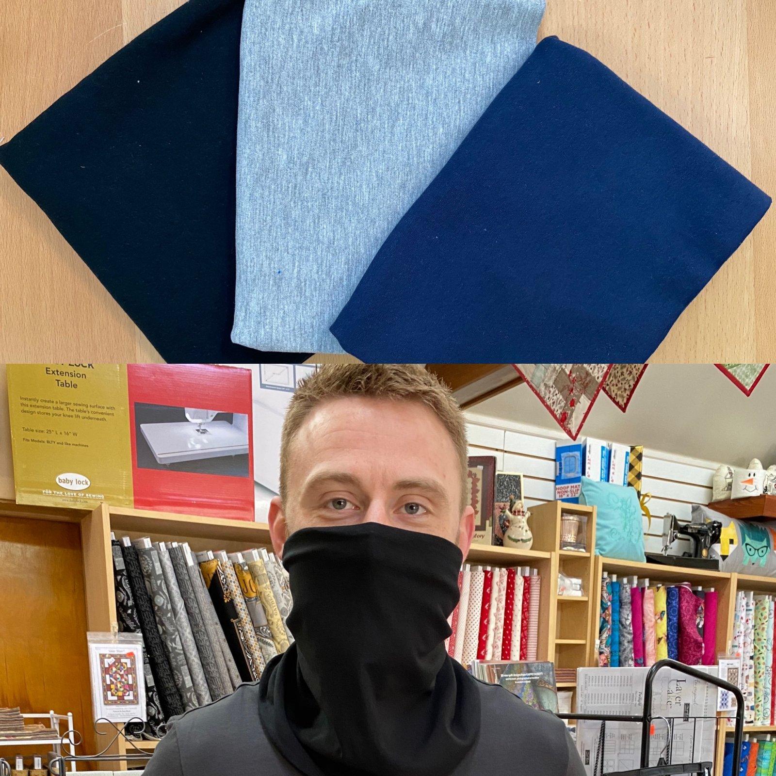 Basics: Solid Black, Gray, & Navy - Gloria Gaiter Face Covering Kit (Makes 3)