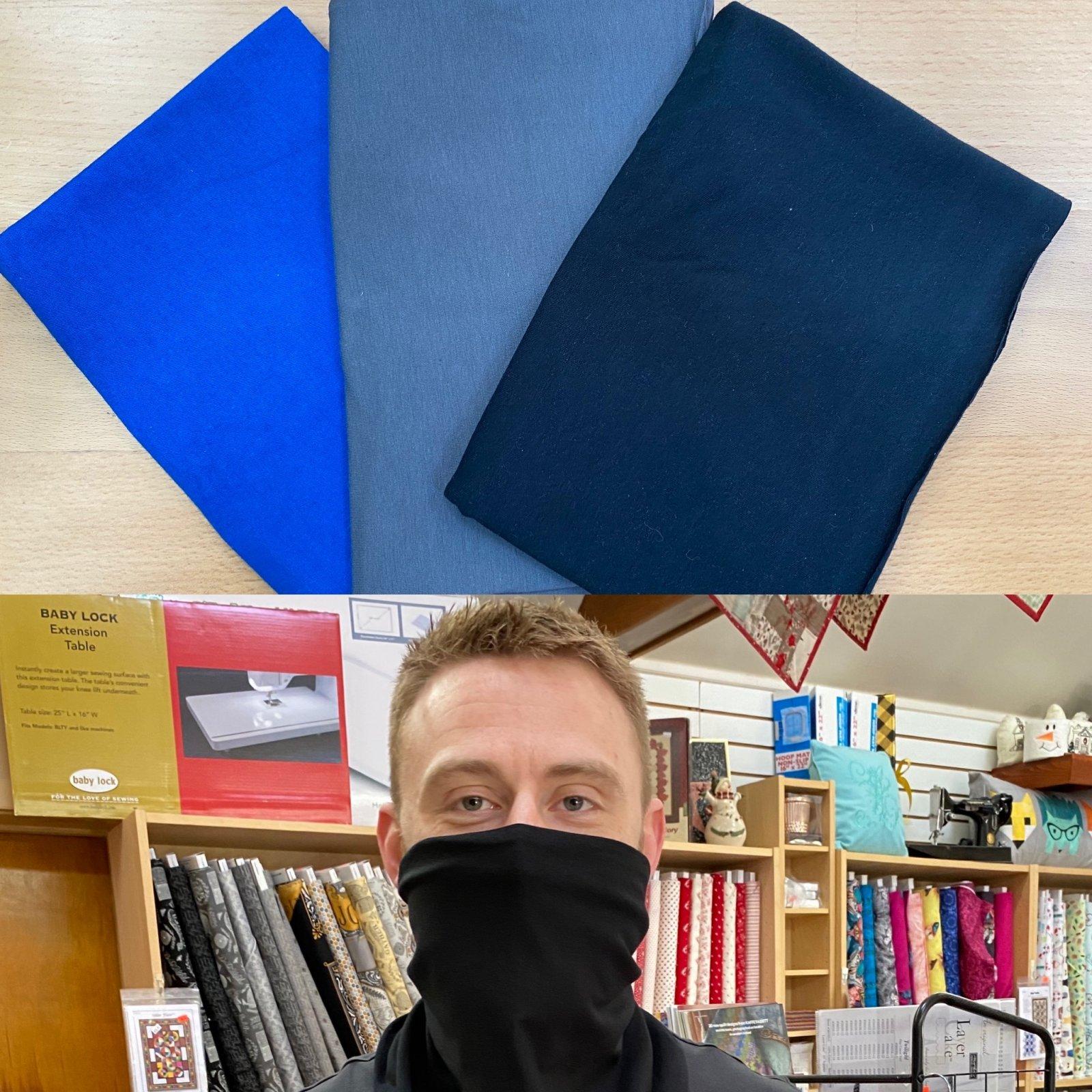 Basics: Solid Royal, Charcoal Gray & Black - Gloria Gaiter Face Covering Kit (Makes 3)