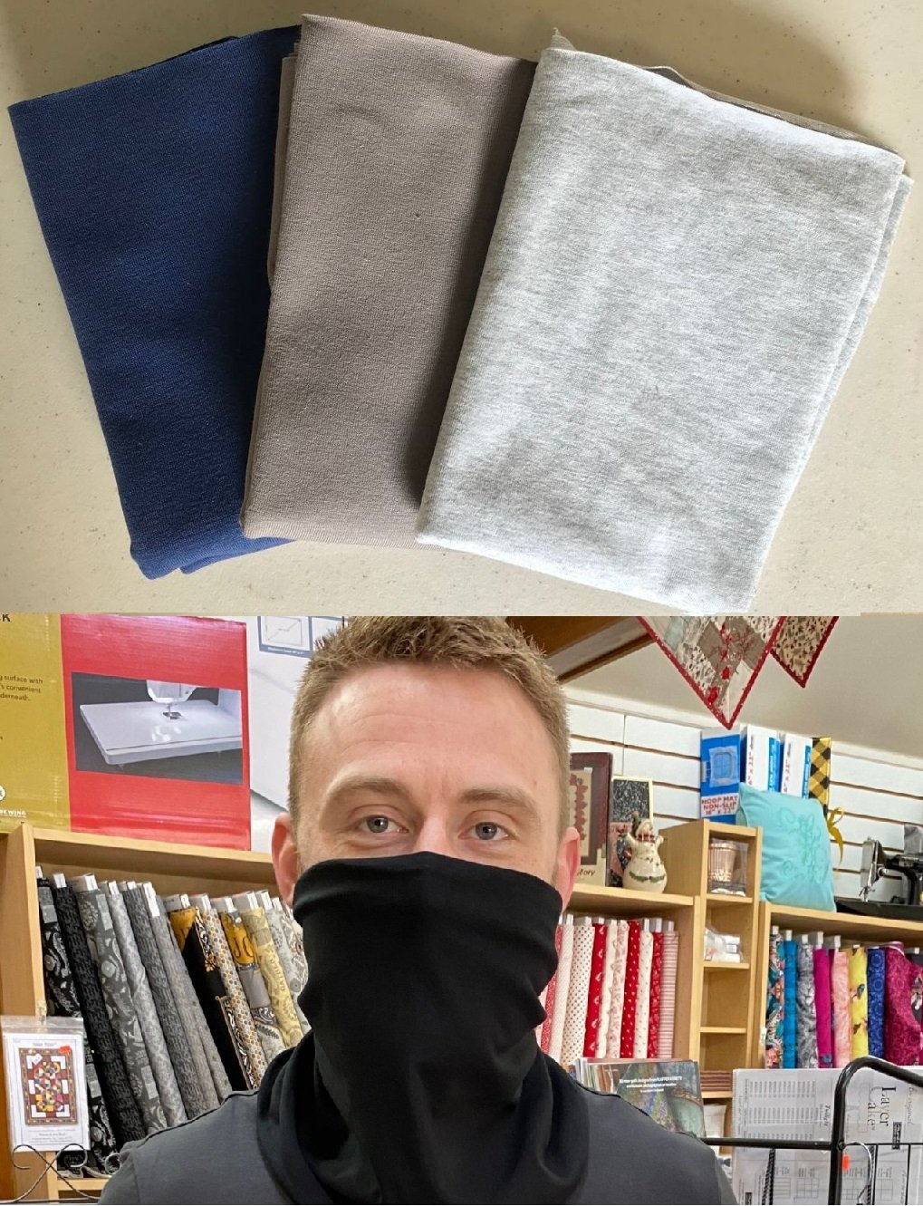 Basics: Solid Army, Navy & Gray - Gloria Gaiter Face Covering Kit (Makes 3)