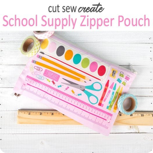 School Supply Zipper Pouch Panel