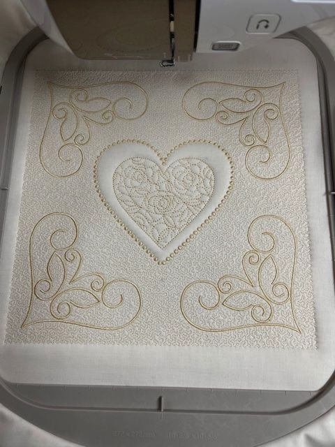 IQ Designer Directions - Trapunto Heart Pillow - Created with shapes, fills and micro-stippling