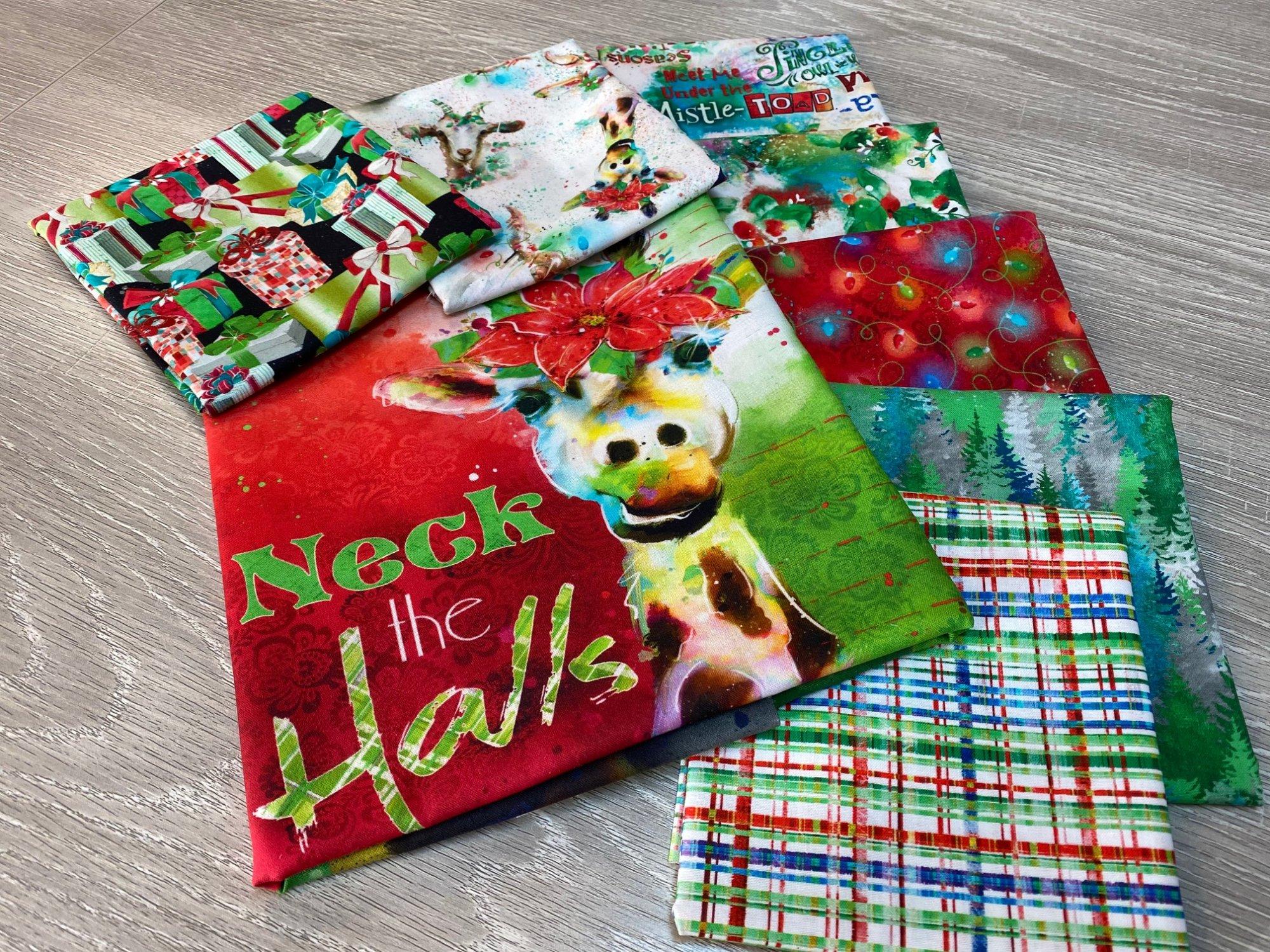 SALE!!!!  Sassy Holiday Fabric Bundle - 1 Panel + 7 one-half yard cuts of coordinating fabric
