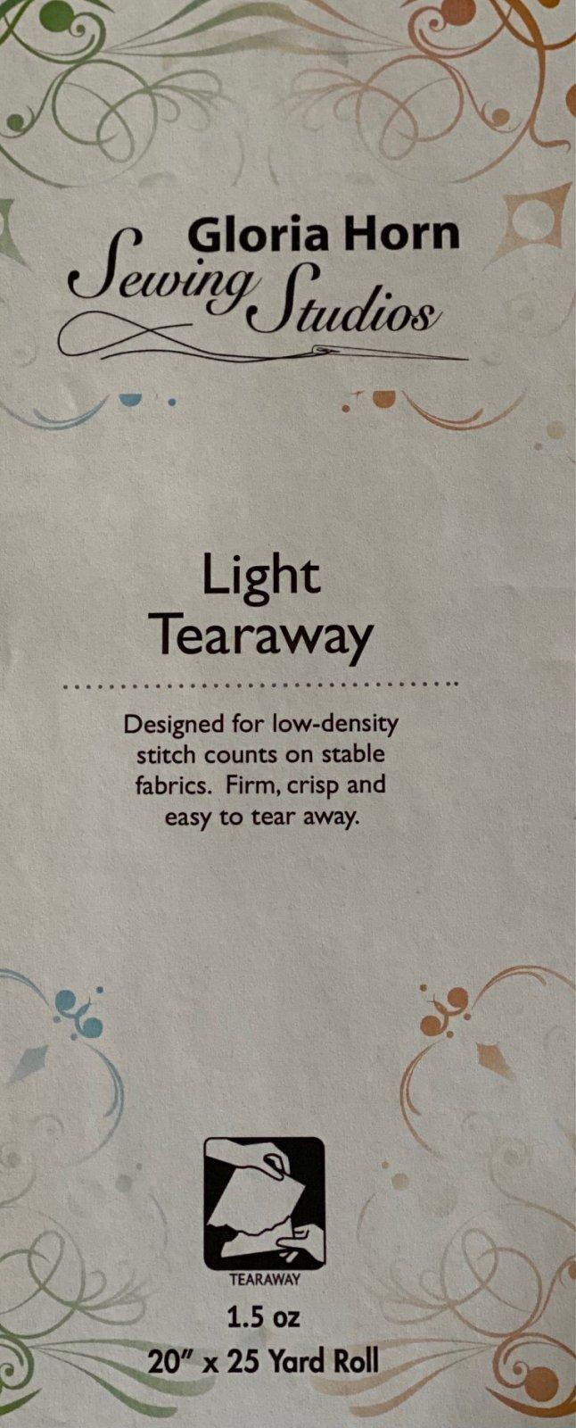 Light Firm Tearaway Stabilizer - White  20 x 25 yards