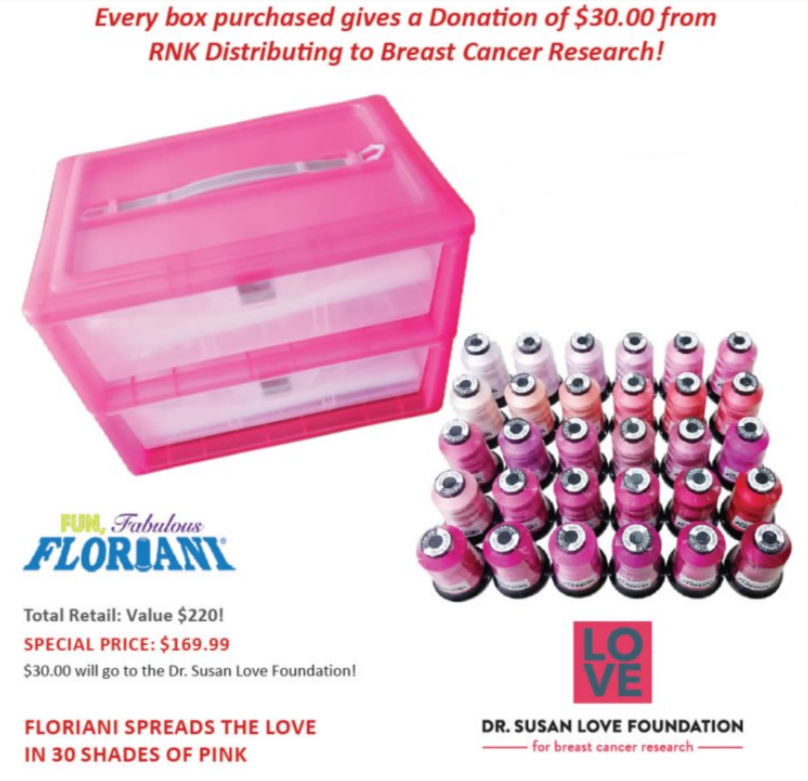 30 Shades of Pink - 30 Spools of Floriani embroidery thread in various shades of PINK!