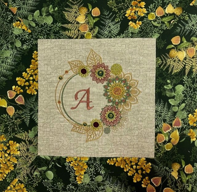 IQ Designer Directions - Solaris - Monogrammed and Stippled Pillow with Quilted Border