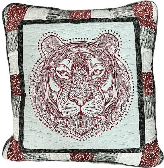 IQ Designer Directions for Solaris - Tiger Pillow -Adding decorative stitch & fill to a built-in embroidery design