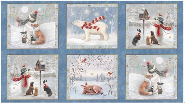 Woodland Buddies WOODLAND BUDDIES PICTURE PATCHES CHAMBRAY by QT Fabrics  27874-W
