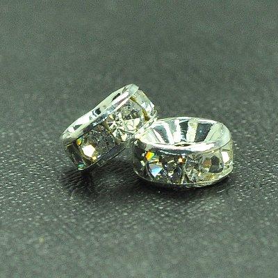 8mm Crystal RNDL Silver 10pc