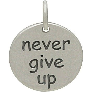 SS Never Give Up Charm 15x12mm