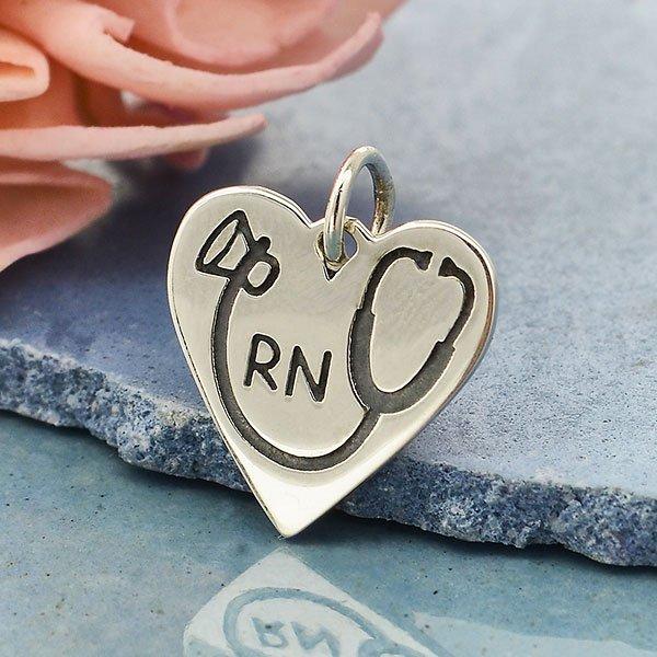SS RN Heart Charm w Stethoscope 16x13mm