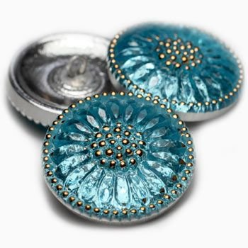 18mm Daisy Blue Gold Button