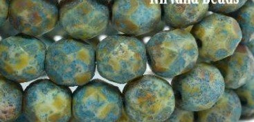 6mm FP Bead Blue Green w Turquoise Wash 25pc
