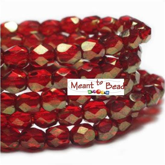 4mm FP Ruby Red Gold Luster 50pc