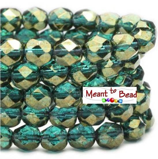 6mm FP Blue Green with Gold Luster 25pc