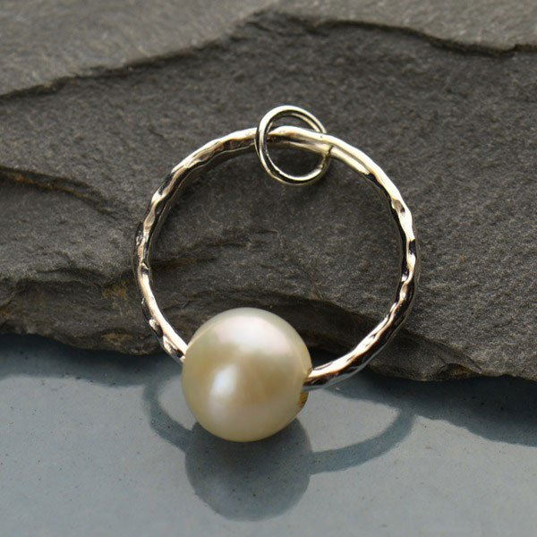 SS Hammer circle  Pendant with Pearl 27x19mm