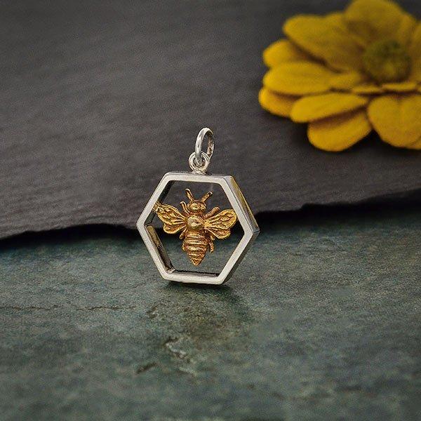 SS Hexagon Charm with Bronze Bee 20x16mm