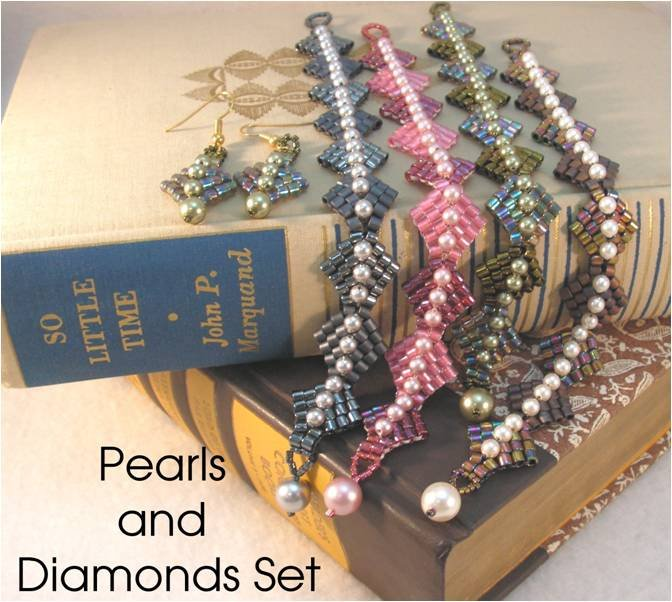 INS166 Pearls and Diamonds Bracelet and Earrings Set