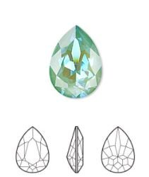 crystal rhinestone, Crystal Passions®, crystal silky sage DeLite, 18x13mm faceted pear fancy stone (4320).