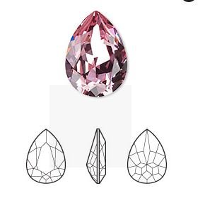 Crystal Passions®, light rose, foil back, 18x13mm faceted pear fancy stone (4320).Swarovski