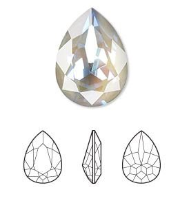 Crystal Passions®, serene gray DeLite, 18x13mm faceted pear fancy stone (4320) SWAROVSKI