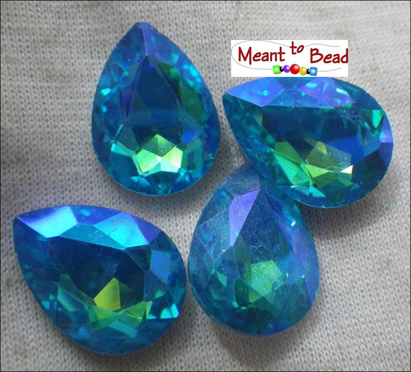 Mermaid Aqua Glacier Blue 18X13mm Pear Foiled EA