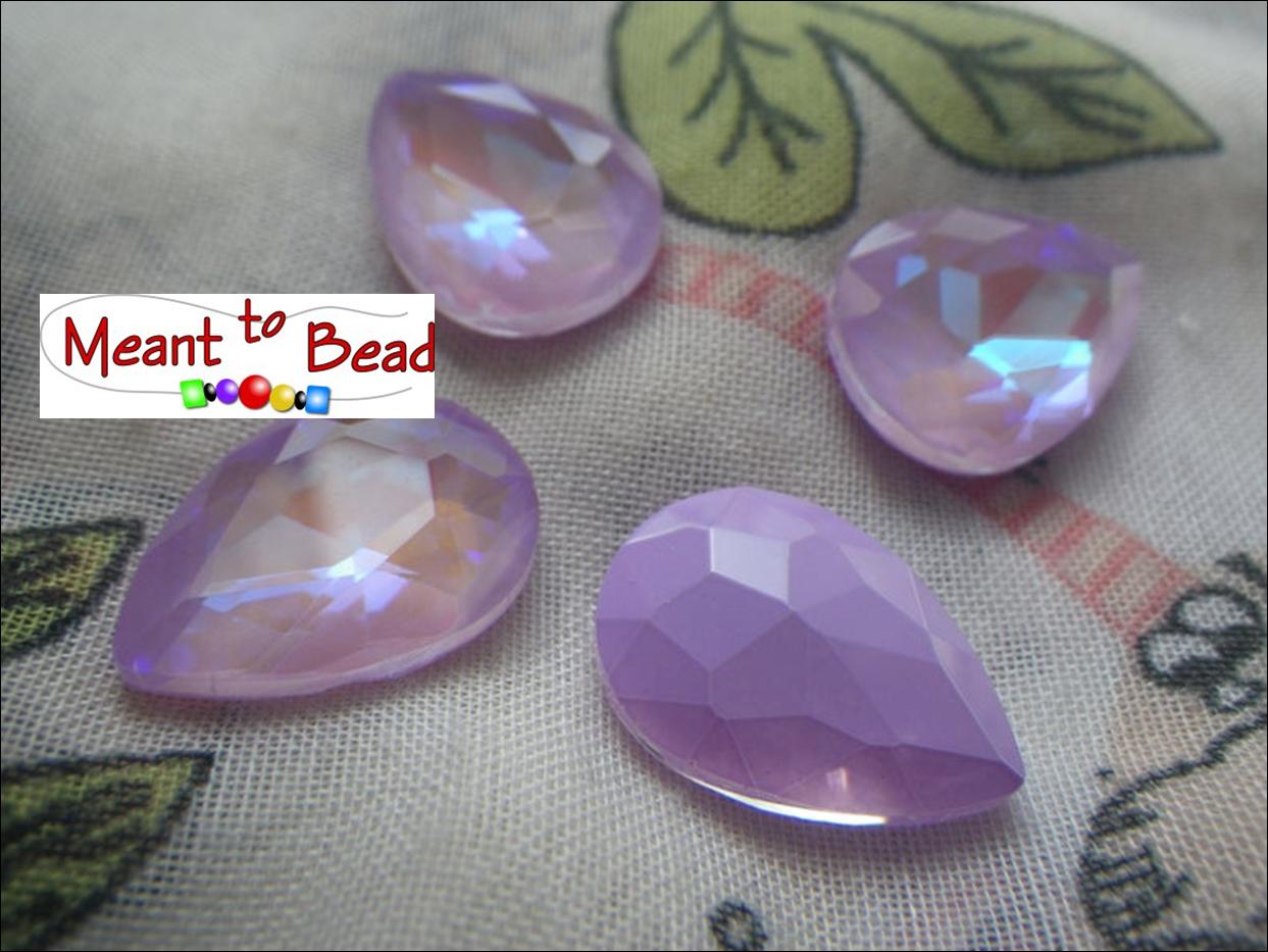 Electric Violet with Glacier Blue 18X13mm Pear Foiled Ea