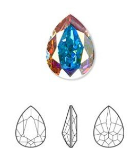 crystal AB, foil back, 18x13mm faceted pear fancy stone (4320)