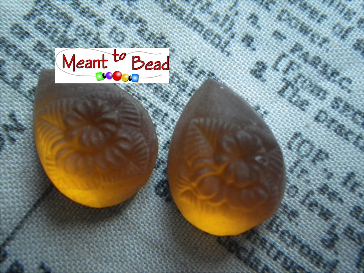 Flower Molded Vintage Matte Topaz Brown Glass Frosted Pear Cabs 18x13mm EA