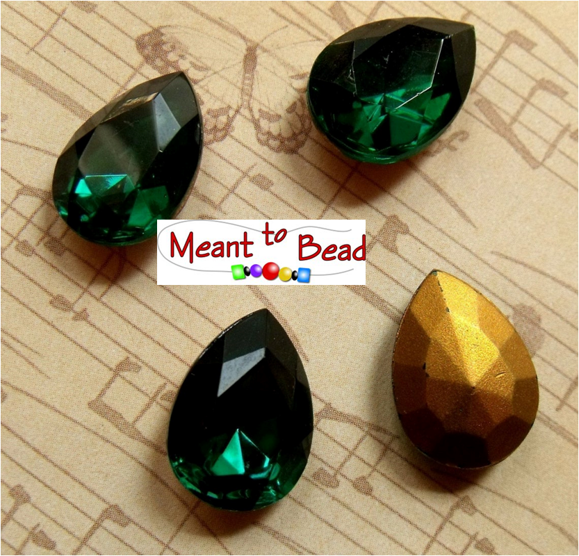 ElGreen Emerald 18X13mm Pear Glass Gems Foiled EA