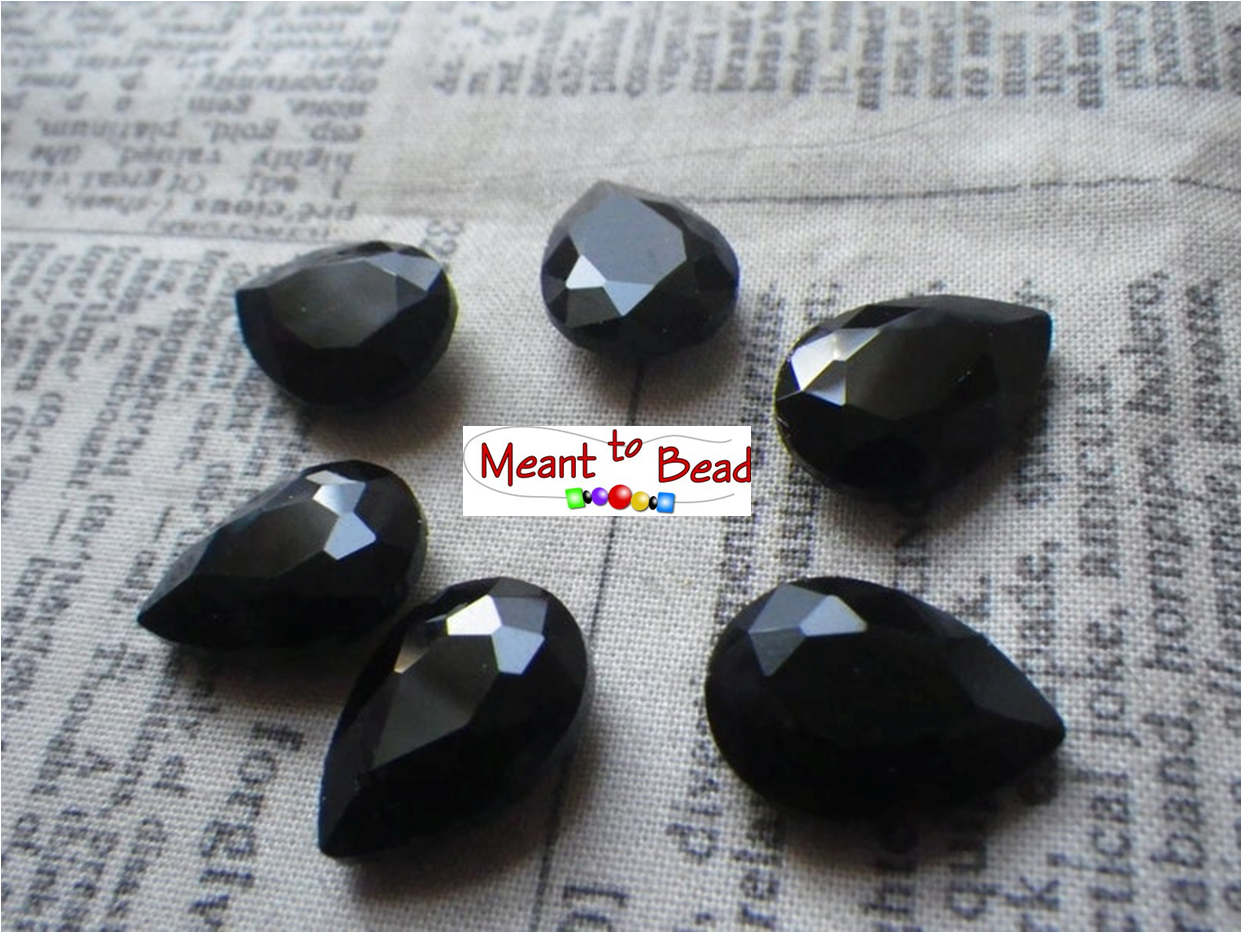 Opaque Jet Black Glass 18X13mm Pear Gems EA