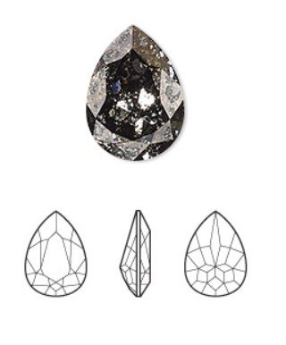 Crystal Black Patina, foil back, 18x13mm faceted pear fancy stone (4320)