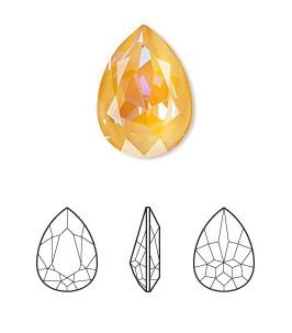 Crystal Peach DeLite, 18x13mm faceted pear fancy stone (4320)