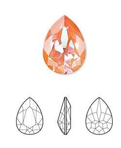 crystal orange glow DeLite, 18x13mm faceted pear fancy stone (4320) Swarovski