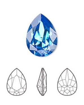 crystal royal blue DeLite, 18x13mm faceted pear fancy stone (4320)