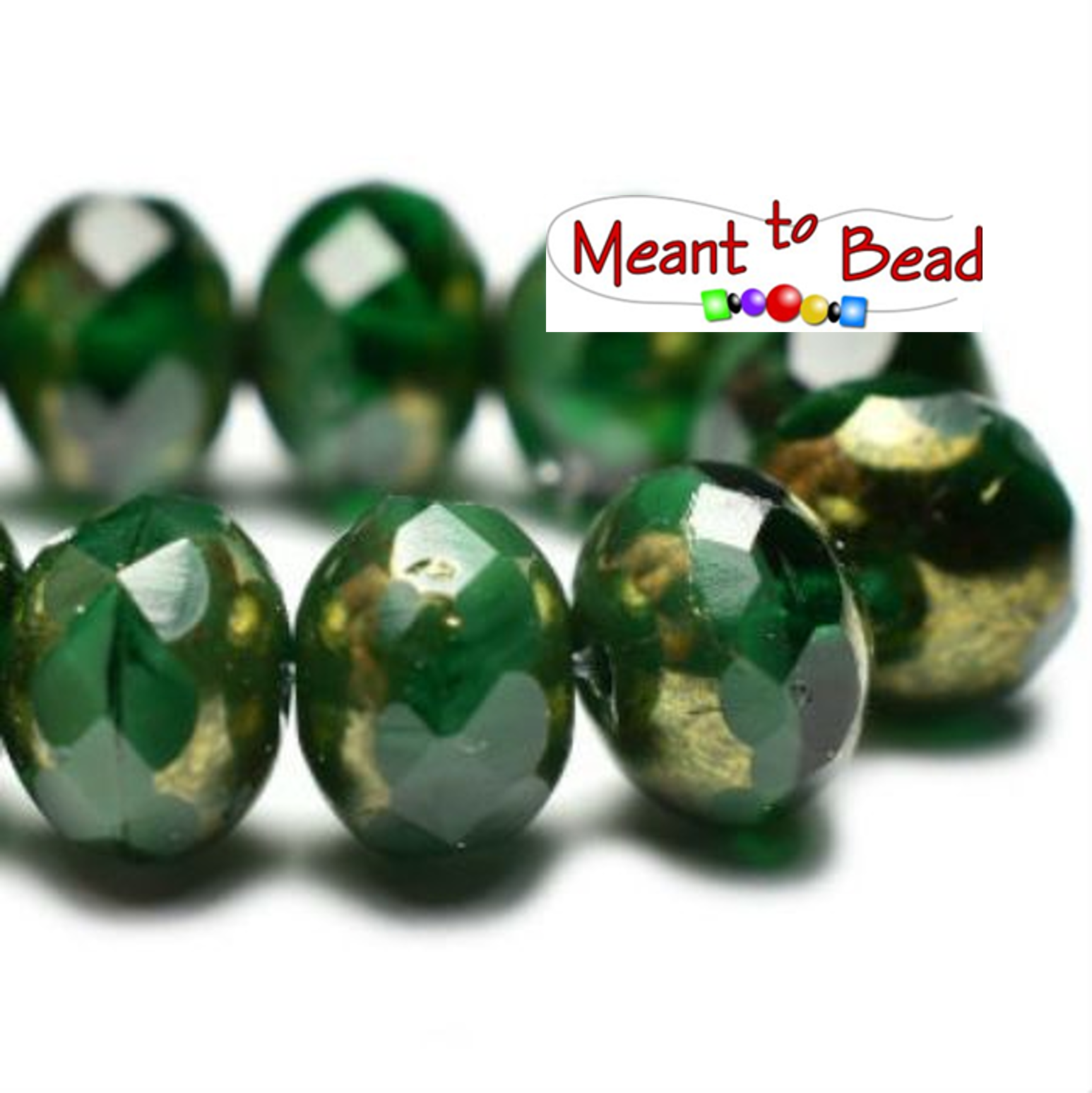 5x7mm Rondelle Hunter Green with Gold Finish 25pc