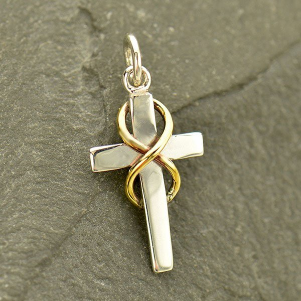 SS Cross Charm w Bronze Infinity Symbol EA