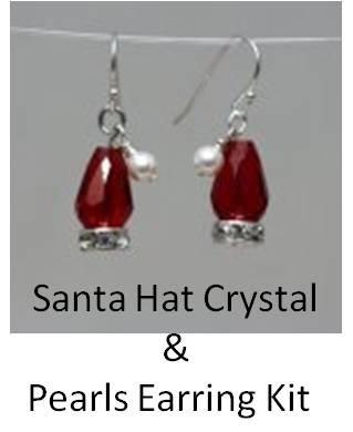 Santa Hat Crystal n Pearl Earrings Kit