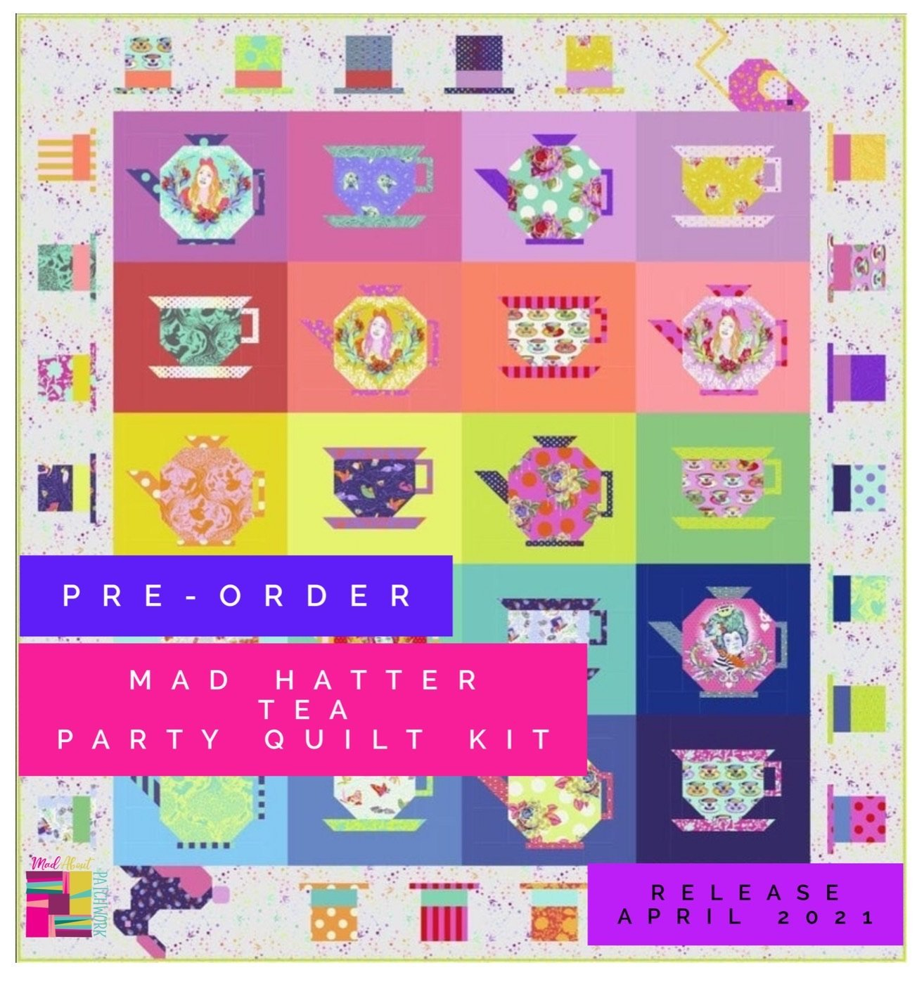 Tula Pink Mad Hatter Quilt Kit Preorder Fee