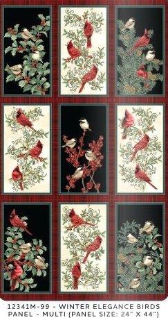 Winter Elegance Birds Panel Multi