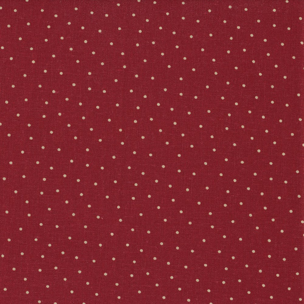 Shabby Chic Linen Red w/Cream Dots