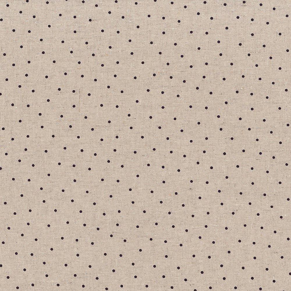 Shabby Chic Linen Cream w/Black Dots