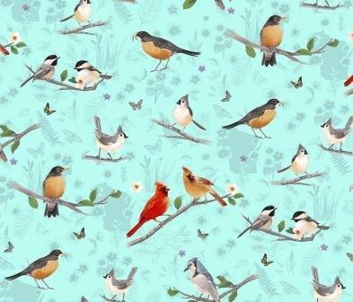 Flight of Fancy Bird Scenes by Diane Neukirch Light Teal
