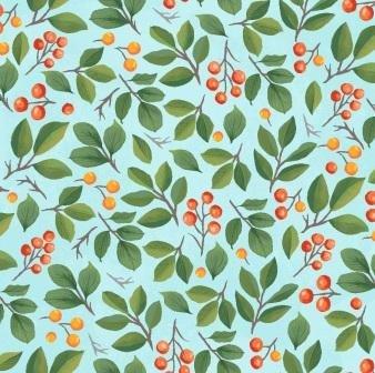 Flight of Fancy Mini Berries by Diane Neukirch Light Teal