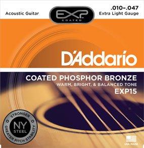 D'Addario EXP15 Extra Light Coated Phosphor Bronze