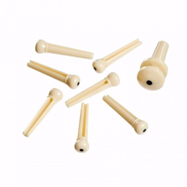 Planet Waves Injected Molded Bridge Pins With End Pin, Set Of 7, Ivory With Blac...
