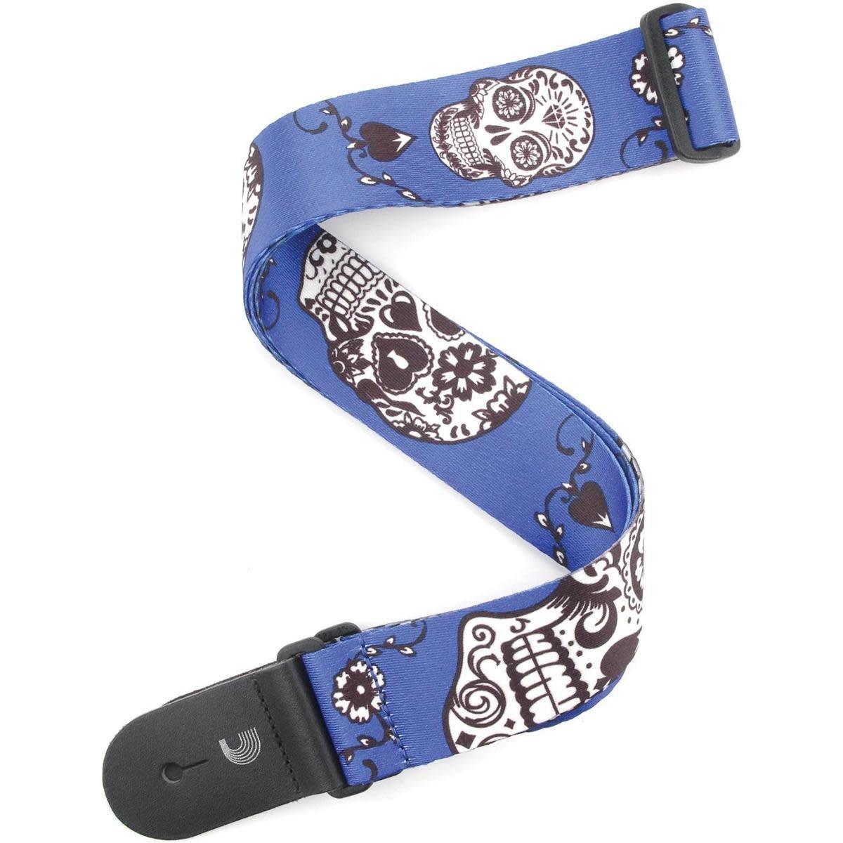 2 Woven Guitar Strap, Sugar Skulls - Blue, by D'Addario
