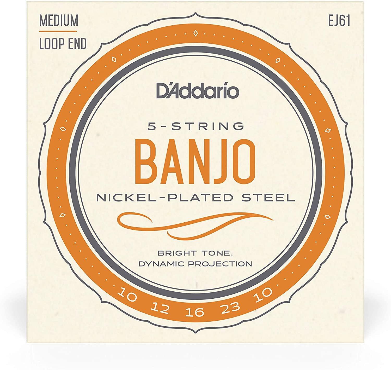 D'Addario EJ61 5-String Banjo Strings, Nickel, Medium 10-23