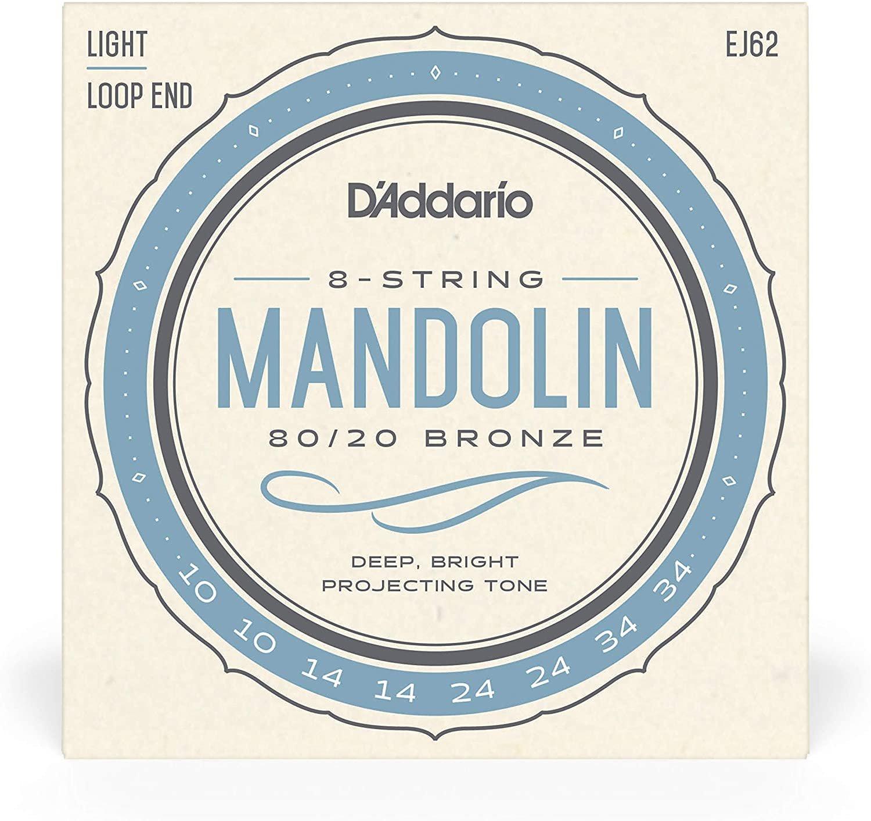 D'Addario EJ62 80/20 Bronze Mandolin Strings Light, 10-34
